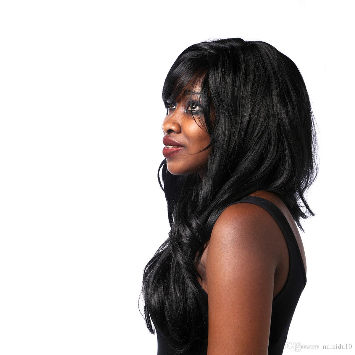 Synthetic Wavy Wigs with Bangs High Temperature Fiber Natural Hair Black Long Wig for Black Women