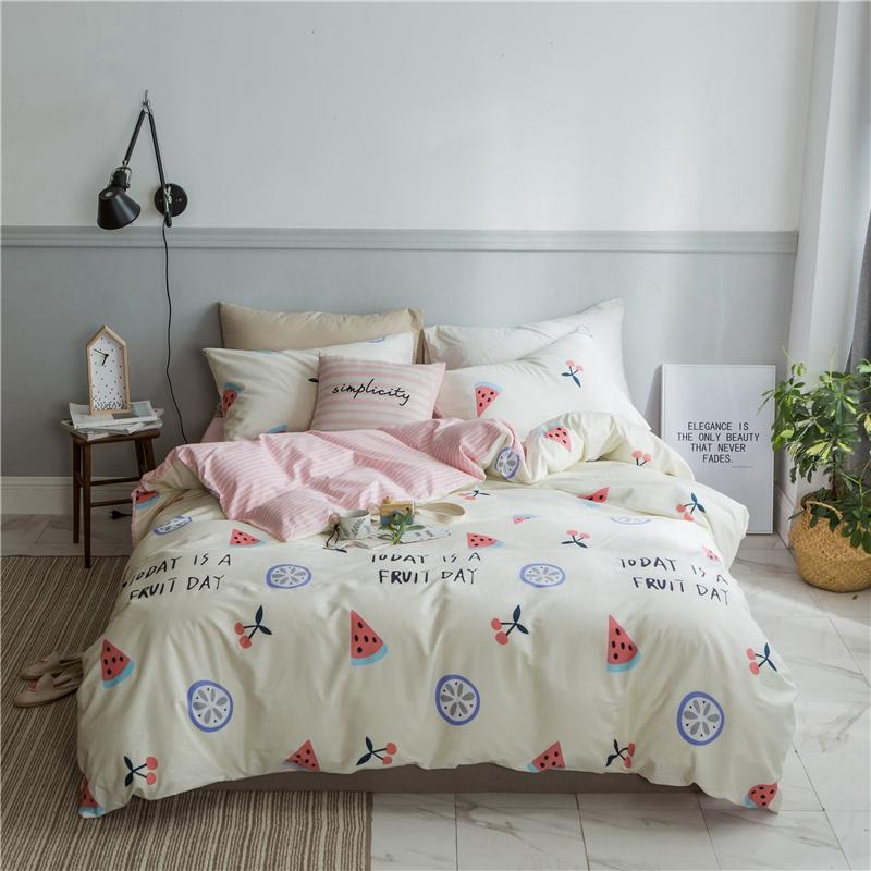 f50adf71d9 Watermelon Printed Bedding Sets Pure Cotton Duvet Cover Set Pink Striped  Bedding Set Twin Bed For Girl Teen Pillowcase Navy Blue Duvet Cover Queen  Comforter ...