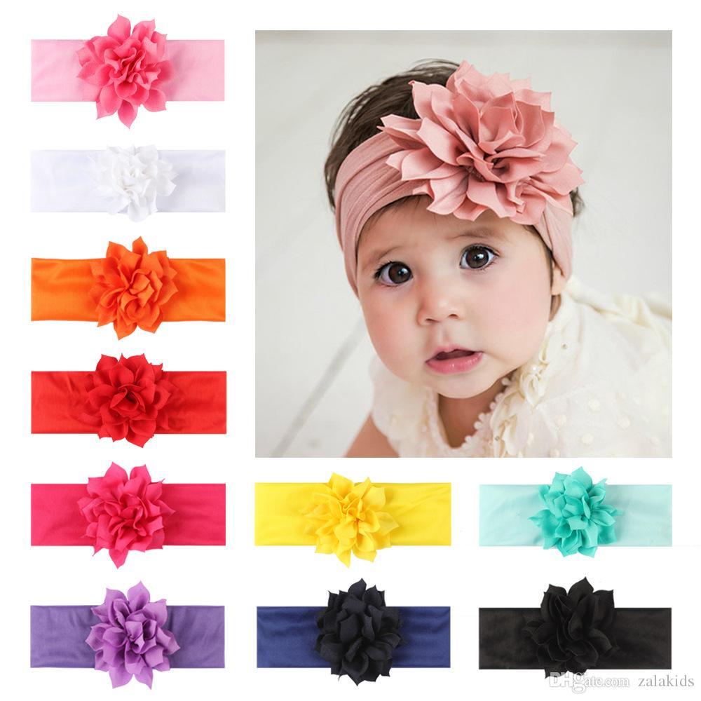 baby girls lotus headbands big flowers newborn infant head band hair