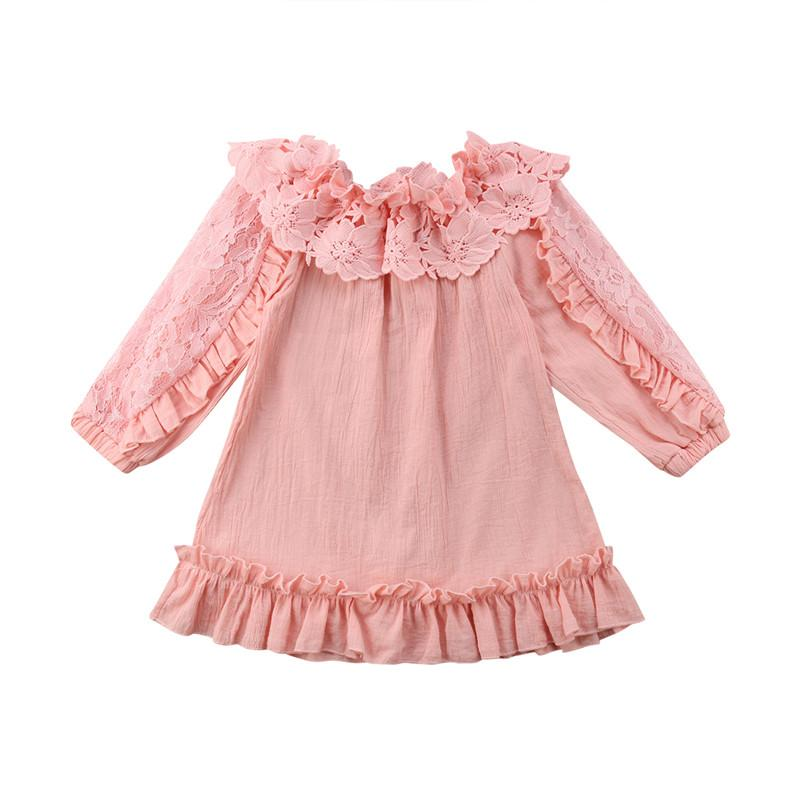 a130c8598 2019 Kids Baby Girl Lace Floral Shoulder Dress Fashion Children Off  Shoulder Princess Dresses Party Pageant Pink/Beige Dress Vestidos From  Entent, ...