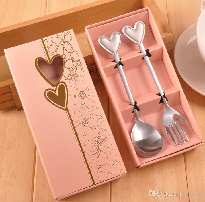 10pcs=5sets(5boxes)new design Lovely Wedding Favor creative gifts tableware Love Heart coffee spoon / fork set wedding gifts For Guests