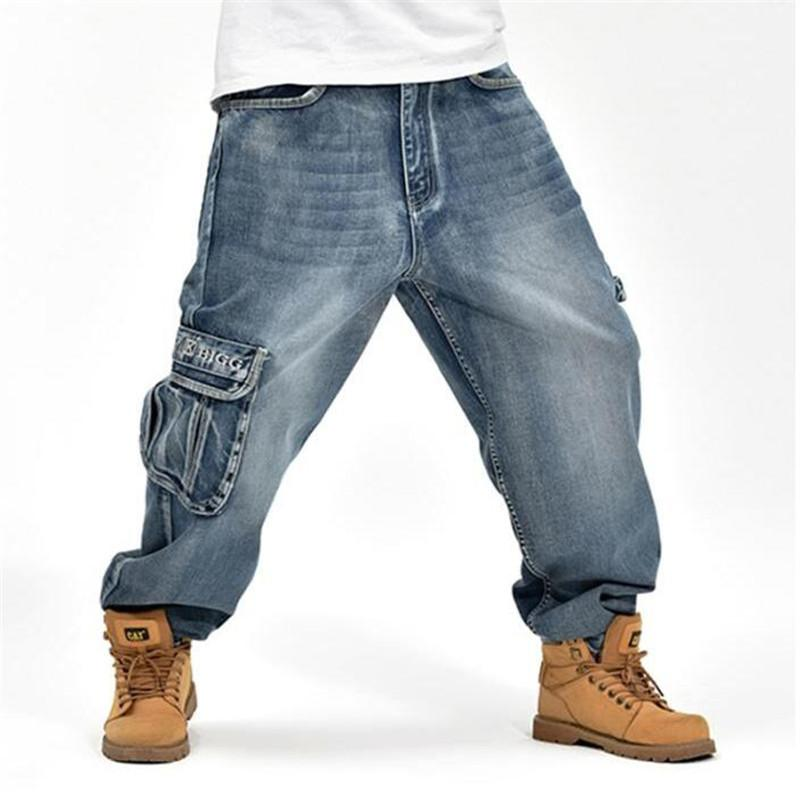 77312991bda New Men Hiphop Big Size Casual Loose Denim Jeans Brand Fashion Hip ...