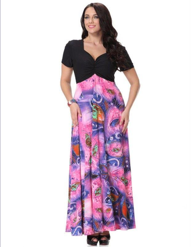 067a9d595ef Women Bohemia Dresses Fashion Floral Print Boho Maxi Beach Dress ...