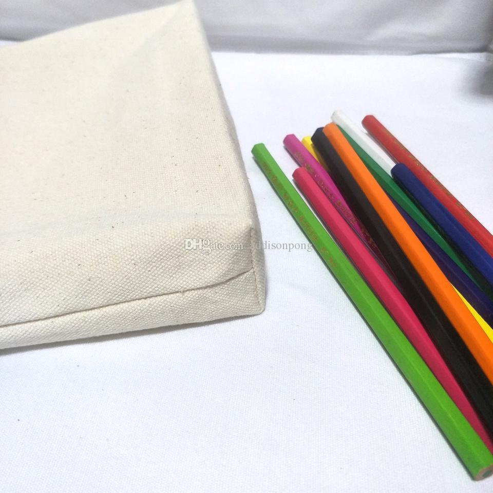 / sacchetto matita della tela di sacco vuoto cotone naturale con una trousse sfoderato tela tassello tassello