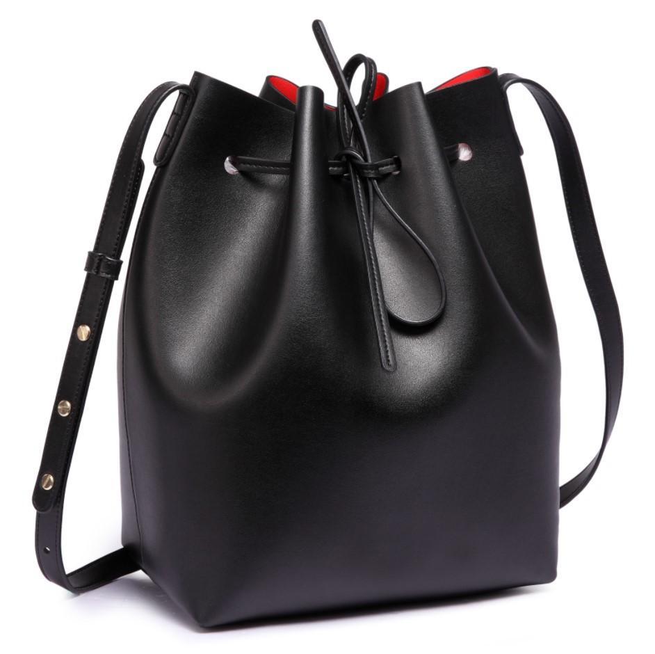 Bucket Bag Leather Ladies Black Own80PkX