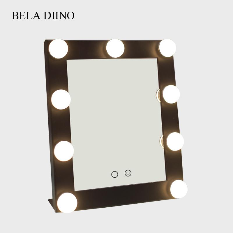 Touch Screen Led Light Makeup Mirror Rectangular Tabletop Table Standing Vanity Make Up Mirror With Light Bulbs Lamp Cosmetic Led Makeup Mirror Lighted ...