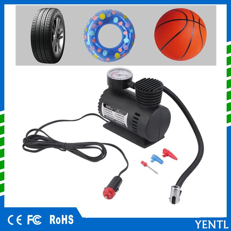free shipping Air Compressor 12V Tire Inflator Toy Sports Car Auto Electric Pump Mini New12V 300PSI Car Bike Tyre Inflator Electric Portable