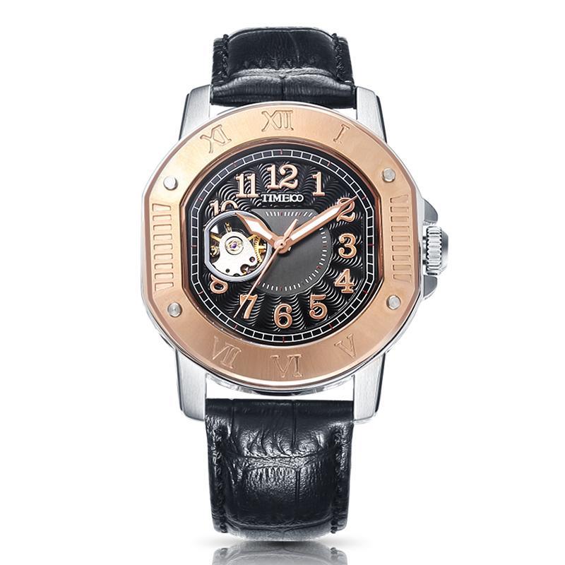 eac11760b4a5 Compre Time100 Cool Vintage Men Mechanical Watches Automático De Viento  Automático Militar Impermeable Reloj De Pulsera De Cuero Negro Para Hombres  Reloj A ...