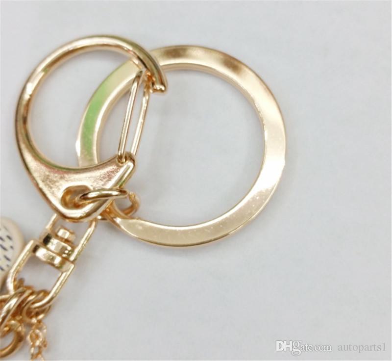 Nueva cadena dominante de la manera Accesorios borla anillo dominante de cuero de la PU del patrón del oso llavero del coche joyería del encanto del bolso
