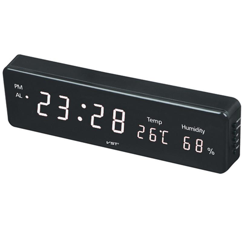 Large Digital Wall Clock With Temperature Humidity Led Hanging