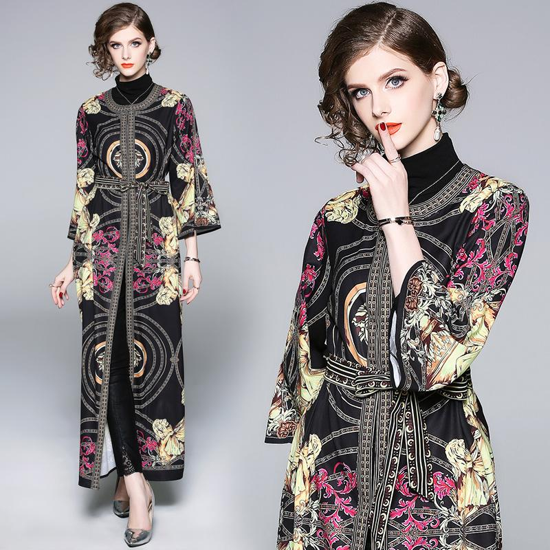 36c79697c2ad6 2019 Autumn Dress With European Style Vintage Print Waist Tie Long Maxi  Unique Dresses For Women Party Daily Street Elegant Lady From Clothes_zone,  ...