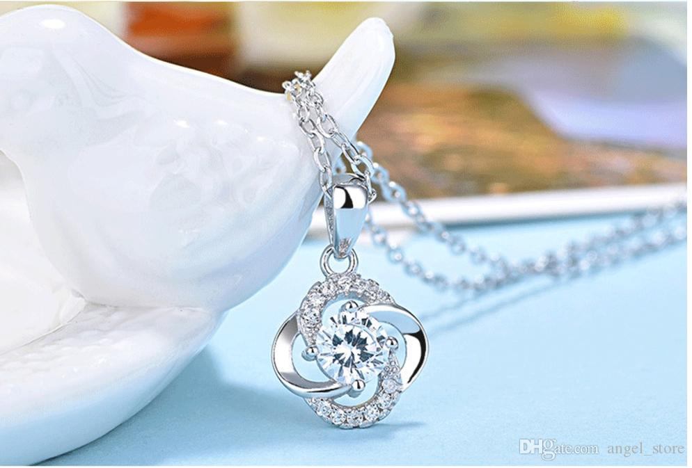 Romantic 925 Sterling Silver Filled Four Clover Statement Necklace Jewelry Round White Purple crystal Pendant Necklaces