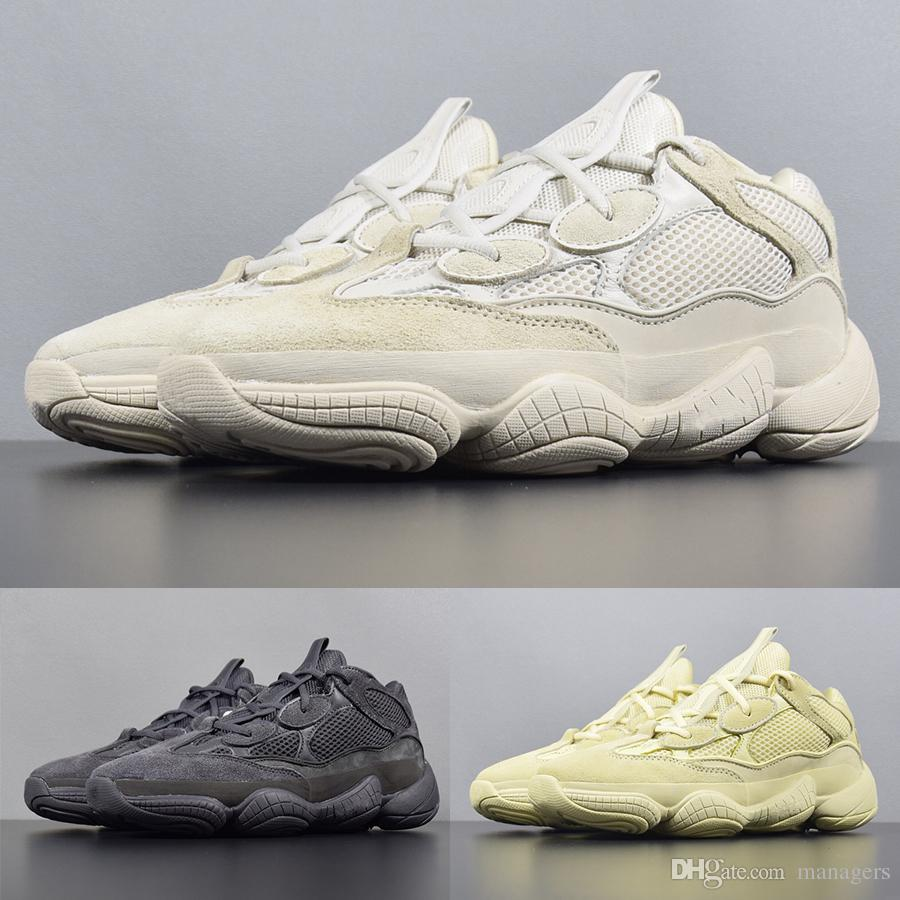 3a185e8ff8188 2019 With Box 500 Desert Rat Running Shoes Mens Kanye West Super Moon Yellow  Designer Sneakers Womens Blush Utility Black Winter Boots 36 45 From  Managers