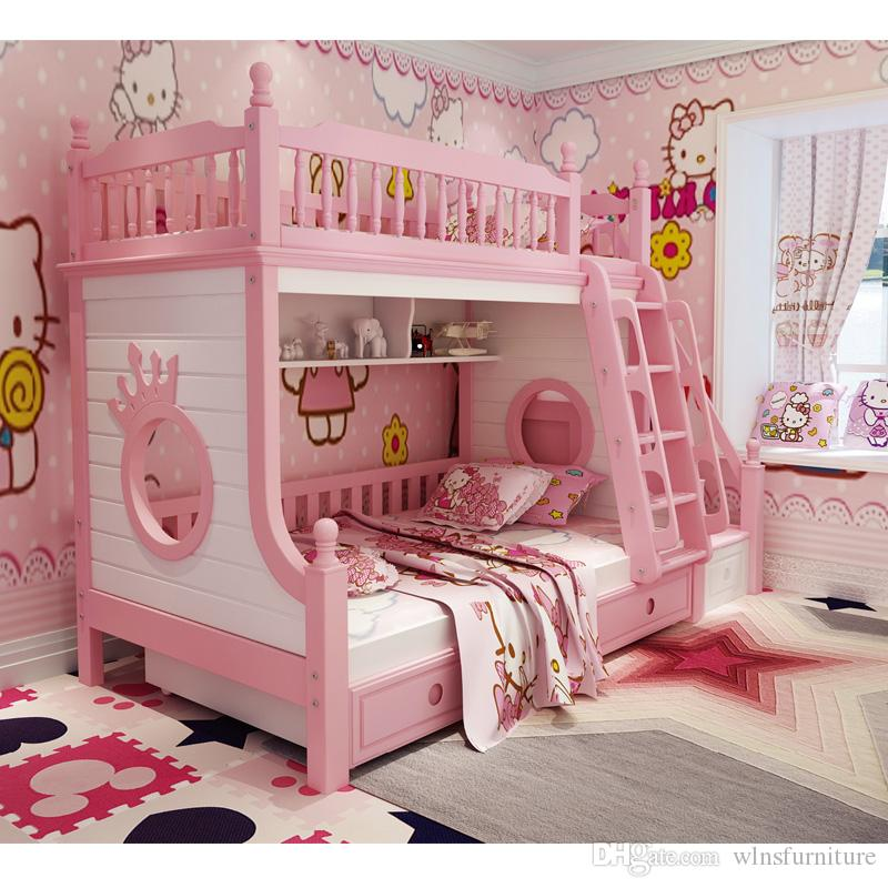 Kids Bedroom Furniture Kids Wooden Toys Online: Solid Wood With Security Fence Storage Stairs Ladder