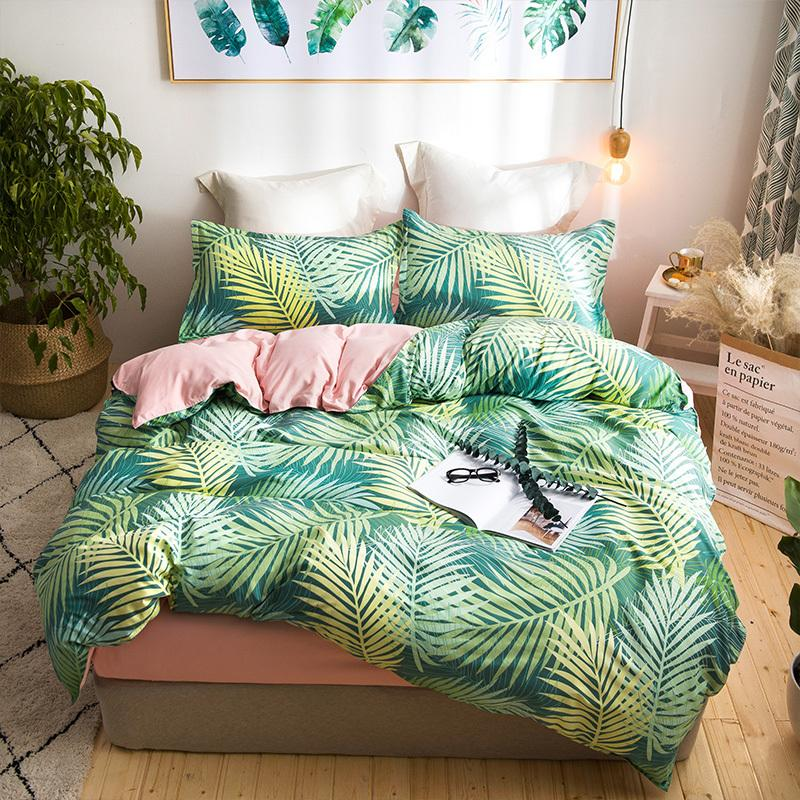 Leaf Print Cute Bedding Set Queen Size Double Bed Set Bed