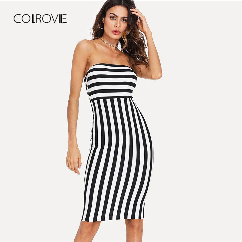 d98e5bba7d3 Wholesale Striped Bandeau Party Dress 2018 New Off The Shoulder Sleeveless  Summer Dress Knee Length Striped Bodycon Women Dress Womens Formal Dresses  Formal ...