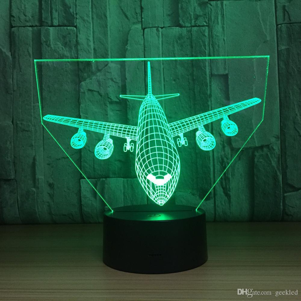 2018 Big Plane 3D Optical Illusion Lamp Night Light DC 5V USB Charging AA Battery Wholesale Dropshipping