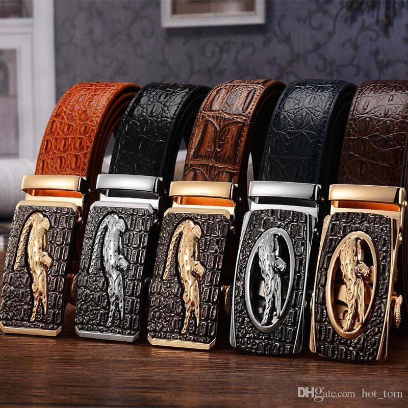 Mens Alligator Embossed Plaque Buckle Cowskin Genuine Leather Ratchet Belt 3D Crocodile Pattern Jeans Belts For Men