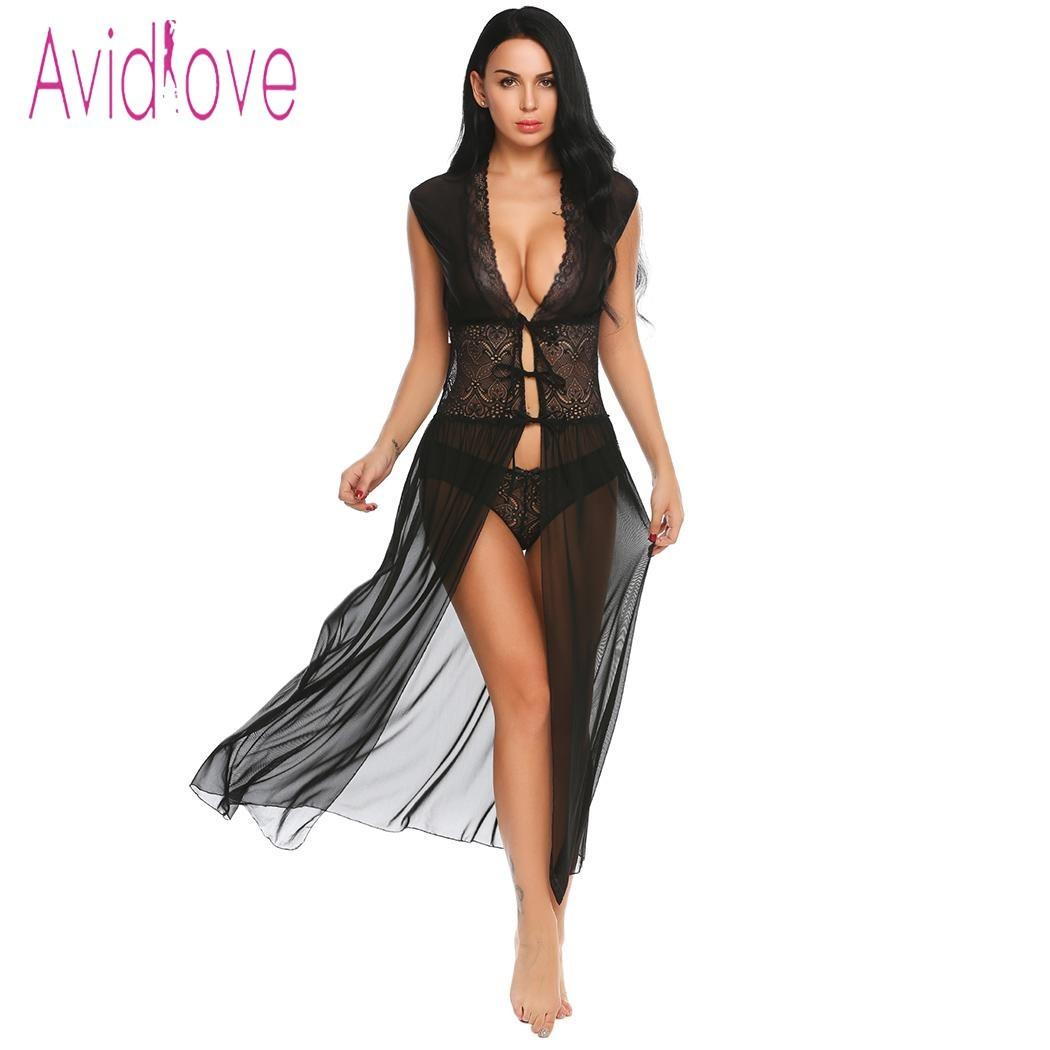 f7640ca37a6 Avidlove Sexy Lingerie Babydoll Dress Erotic Long Night Gown Women  Transparent Lace Nightwear Sheer Mesh Sleepwear With Briefs Y1892909 Ladies  Underwear ...