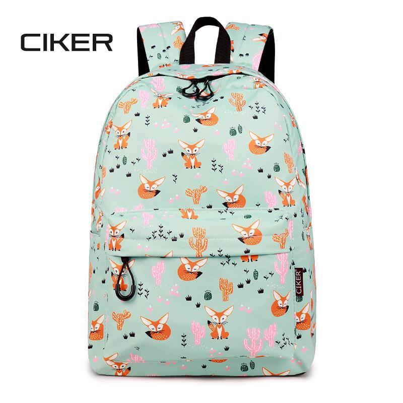 473e81135a CIKER Waterproof Women Backpack Cute Fox Printing Backpack Female School  Bags Travel Daily Laptop Bagpack Cactus Print Bookbag Cool Backpacks Travel  ...