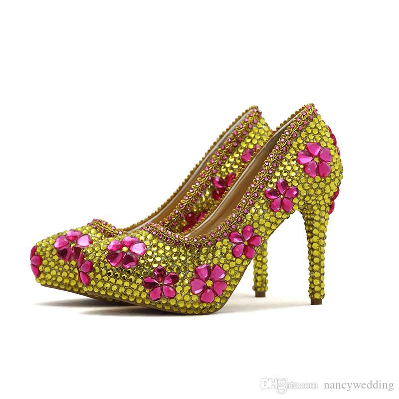 2018 Gold Strass Hochzeit Schuhe mit rosa Kristall handgemachte wunderschöne Party Prom Schuhe Abschluss Prom Pumps Big Size 45