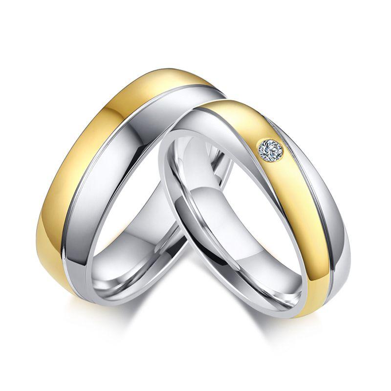 Grosshandel Elegante Hochzeit Ringe Fur Frauen Manner Edelstahl Cz