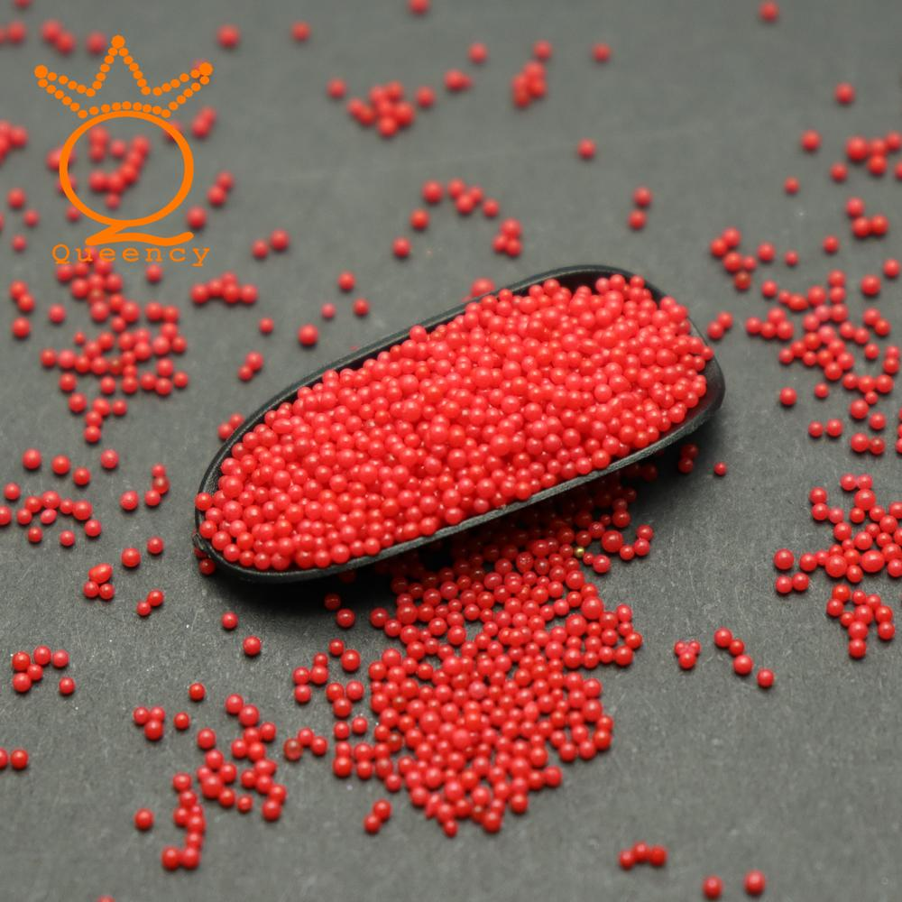 Queency 2018 New Style Nail Art Metal Mini Caviar Beads Pearls Red