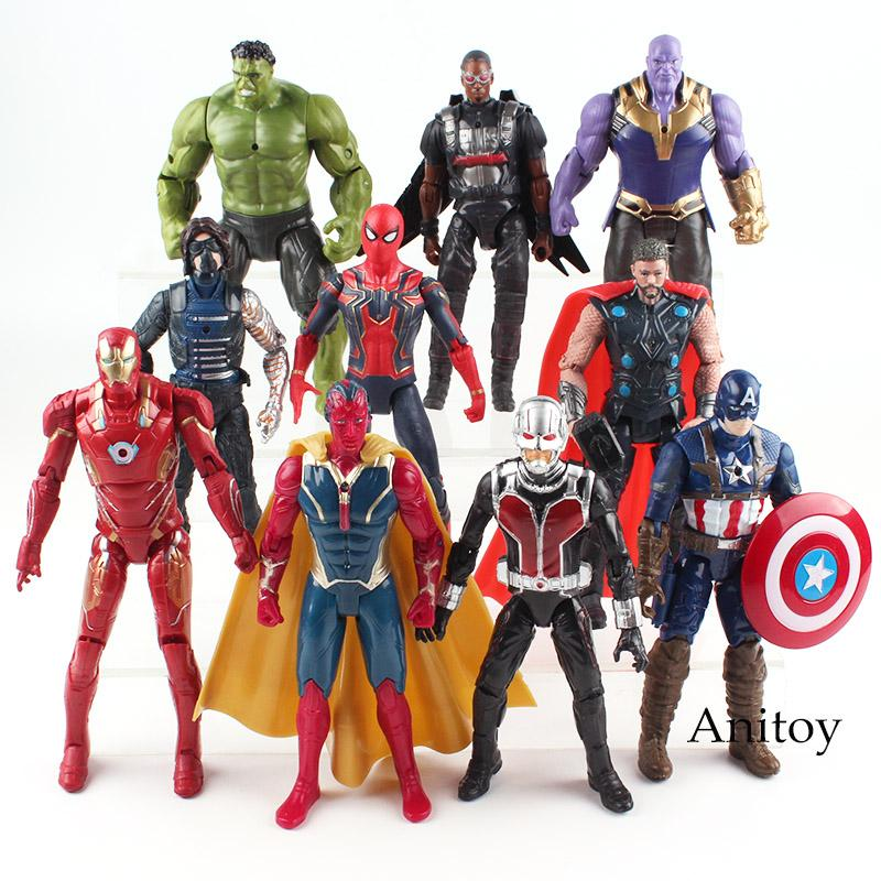 ction Spielzeug-Abbildungen Marvel Avengers Figur Hulk Iron Man Captain America Spiderman Thanos Vision-Falcon Thor Soldat Action-Legenden T ...