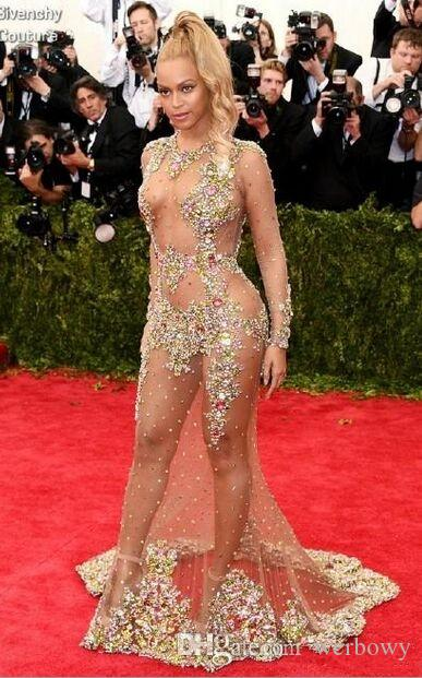 Sheer Beaded Vestidos de noche Beyonce Met Ball Alfombra roja Desnudo Celebrity Vestidos de baile Ver a través del vestido formal Barrido sin respaldo HY948
