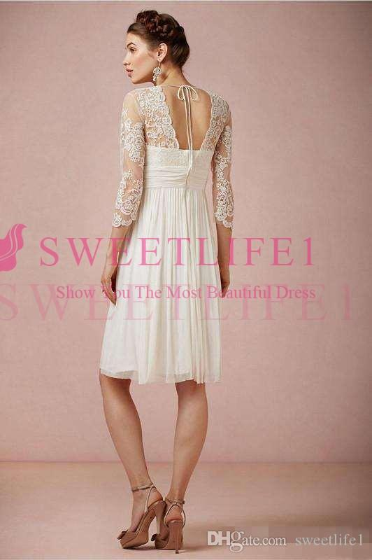 Boho Short Lace Wedding Dresses with Long Sleeves 2018 Modest V-neck Backless Country Farm Holiday Beach Seaside Knee-length Bridal Gown