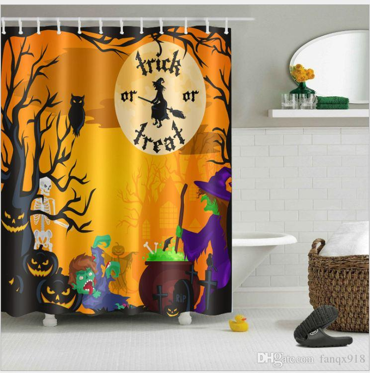 2019 Halloween Witch 3D Digital Printing Polyester Shower Curtain From Fanqx918 1307