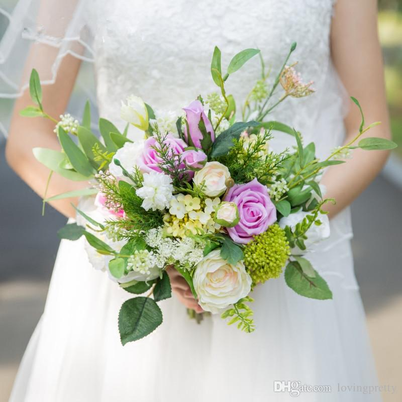 Janevini Artificial Bridal Bouquets 2018 Champagne Rose Leaf Silk