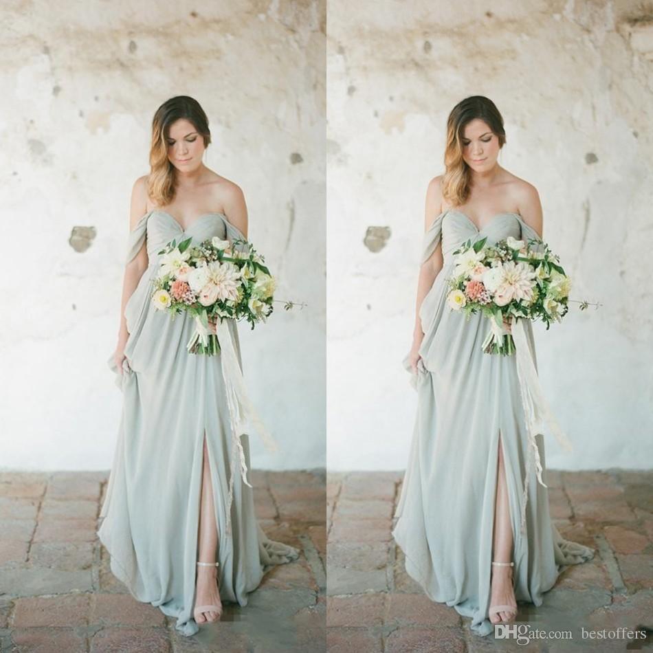 6cb9ea0074b 2019 Mint Country Boho Style Chiffon Bridesmaids Dresses A Line Pleats Long  Wedding Guest Party Evening Prom Gowns Cheap BM0182 Dresses Online Evening  Gowns ...