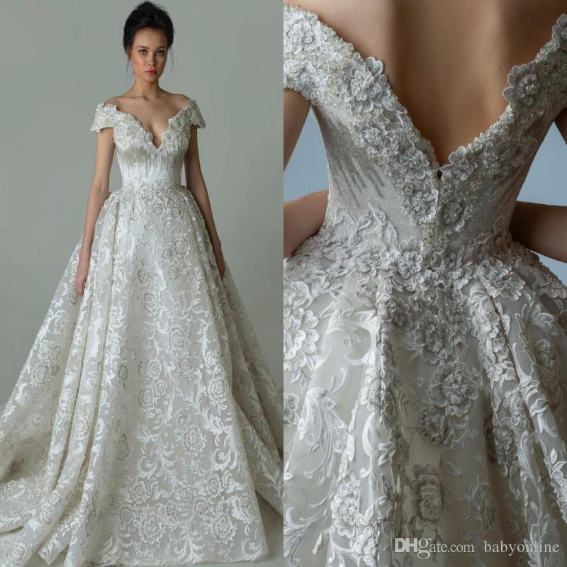 Discount Luxury Designed Lace Wedding Dresses 2018 Newest A Line Off  Shoulder Appliques Embroidery Bridal Gowns Custom Made Vestidos De Novia  Bride Gown ... 04be658a6d6b