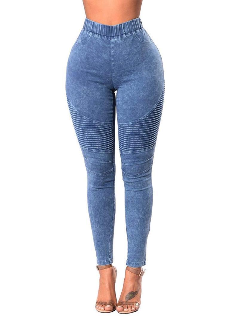 185be9c81 Compre Pantalones De Mezclilla De Las Mujeres Leggings De Goma Cintura Alta Cintura  Elástica Pantalones De Mezclilla Sólido Empuja Hacia Arriba Pantalones ...