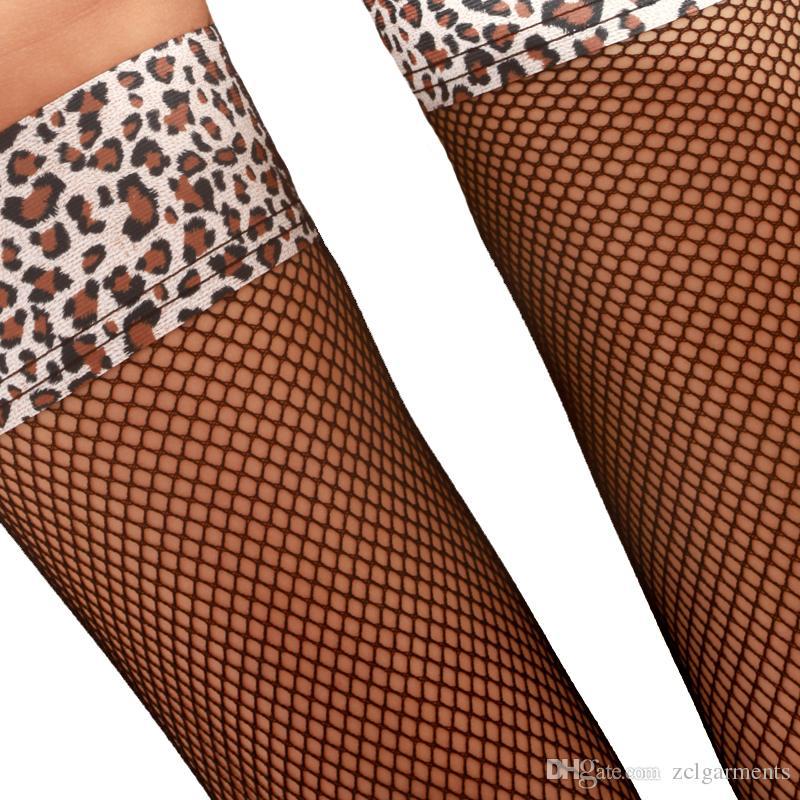 Net Fishnet Çorap Leopar Stocking Yeni 2018 Ekose Seksi Çorap Kadın Uyluk Yüksek Kulübü Lingerie Sheer Kadın Siyah Tayt