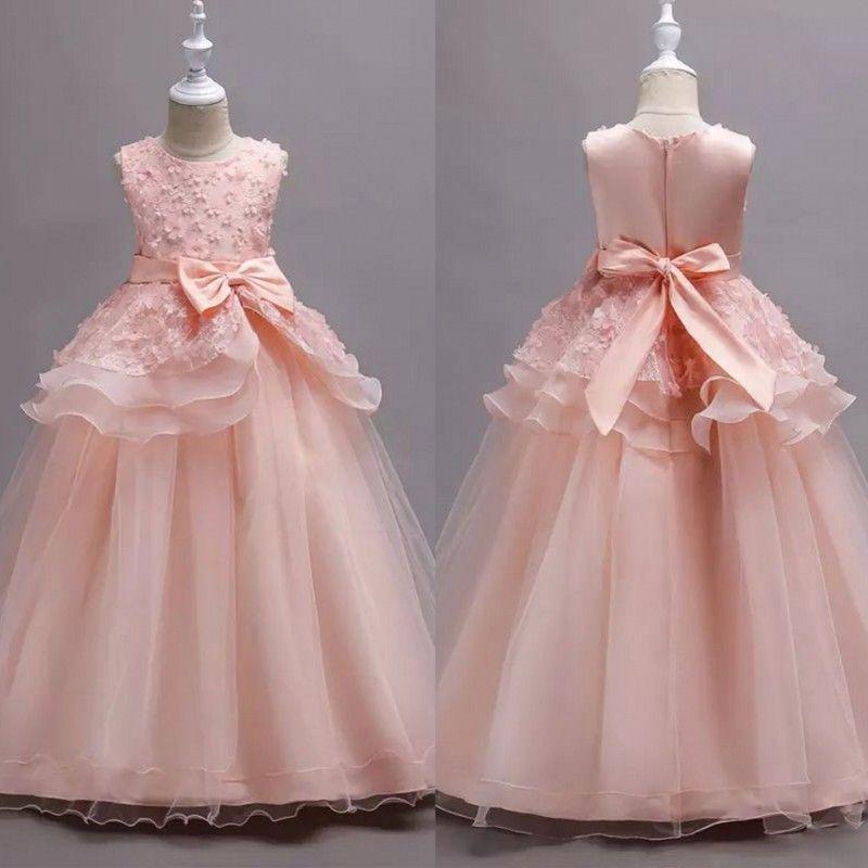 b1b2c96f4 Princess Blush Pink Flower Girls Dresses Delicate Lace Applique With Bow  Belt Formal Communion Birthday Pretty Formal Dress Custom Made Royal Blue  Flower ...