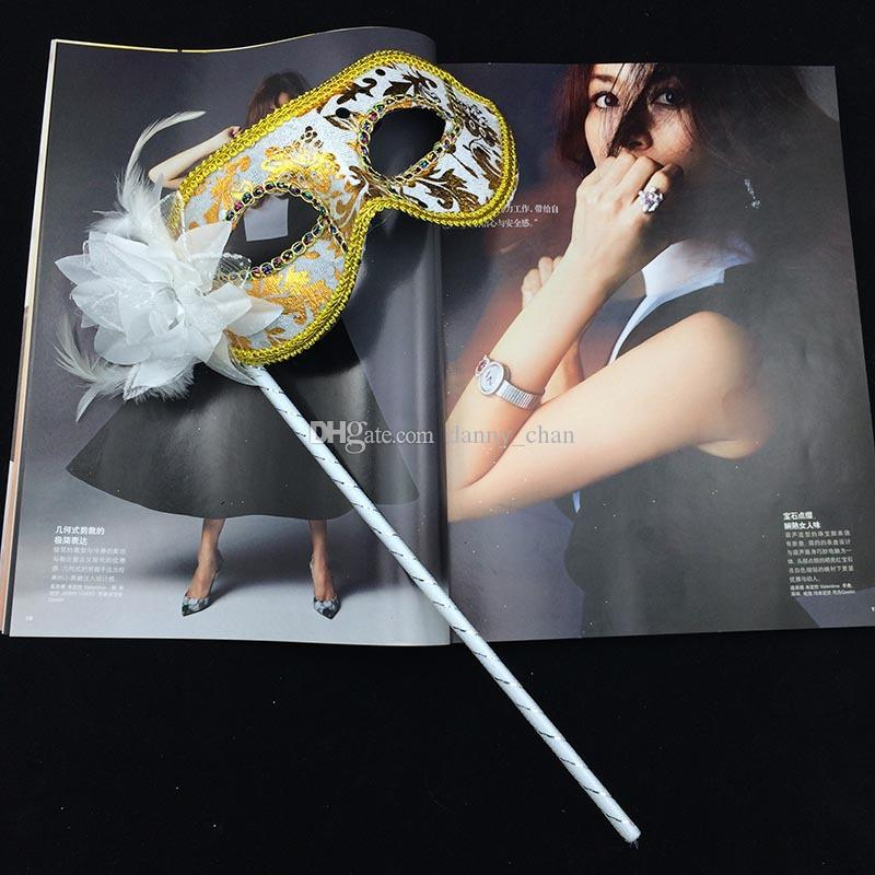 Venetian Meia face máscara da flor Masquerade Máscara Do Partido na vara Sexy Halloween dança de natal suprimentos de Máscara Do Partido do casamento