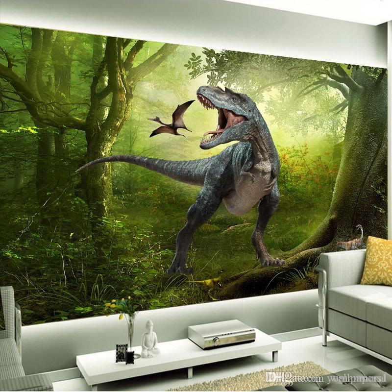 Living room backdrop TV background wallpaper 3D stereoscopic dinosaur fantasy mural murals sofa backdrop wallpaper for kids room