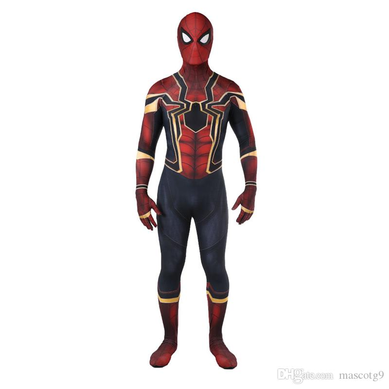 Горячие продажи высокого качества мужские взрослый Хэллоуин Железный Человек-Паук костюм лайкра Зентаи супергерой тема костюм косплей полное тело костюм