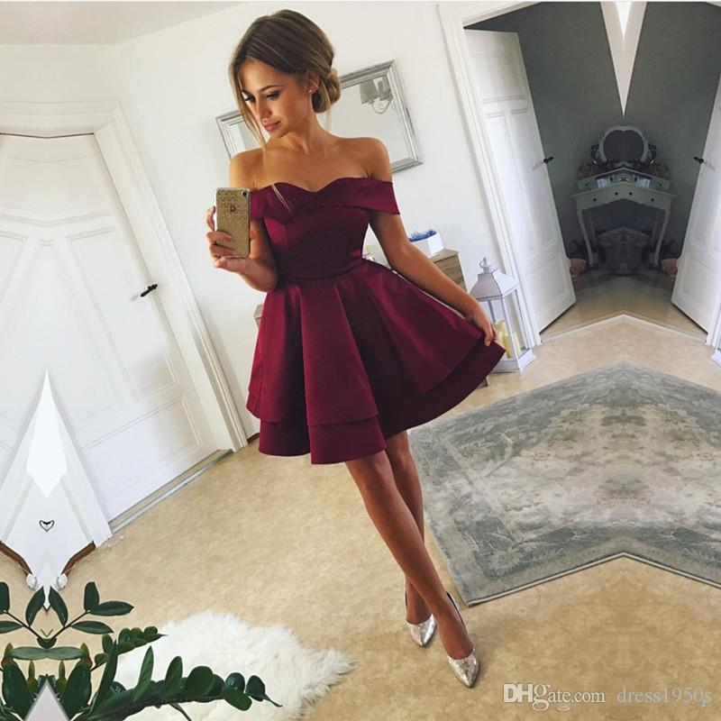 Off The Shoulder Homecoming Dresses Short A Prom Dress Party Formal Gowns  Tiered Skirts Robes De Soirée Homecoming Dress Cocktail Dress Sweet 16  Dresses ... 92874dbc4b4a