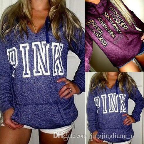 1c4b93f038ed Pink Letter Hoodies Love Pink Jacket Women Pink Sweatshirts Letter ...
