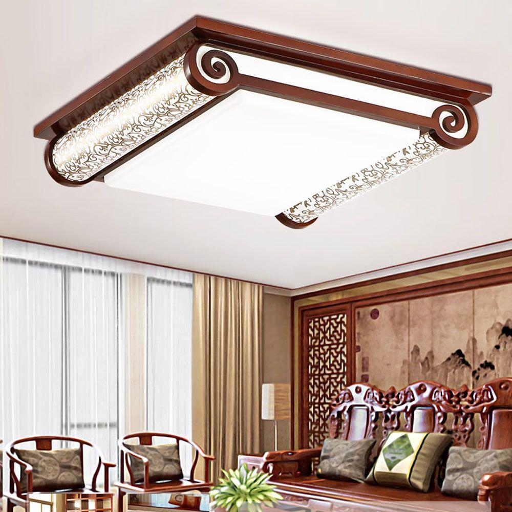 2018 Wooden Modern Led Ceiling Lights For Living Room 110v 220v Book ...