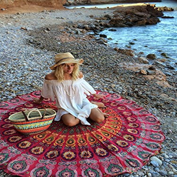 Микрофибра круглый пляжное полотенце 150 см банные полотенца геометрические печати лето саронги пляж шарфы женщины песчаный плавательный пляж загорают