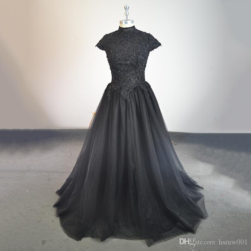 Gerçek Fotoğraf Siyah Abiye Yüksek Boyun Kısa Kollu Boncuk Aplikler Tül Ünlü Elbise Balo Parti Vestido De Dresses Robe De Soiree