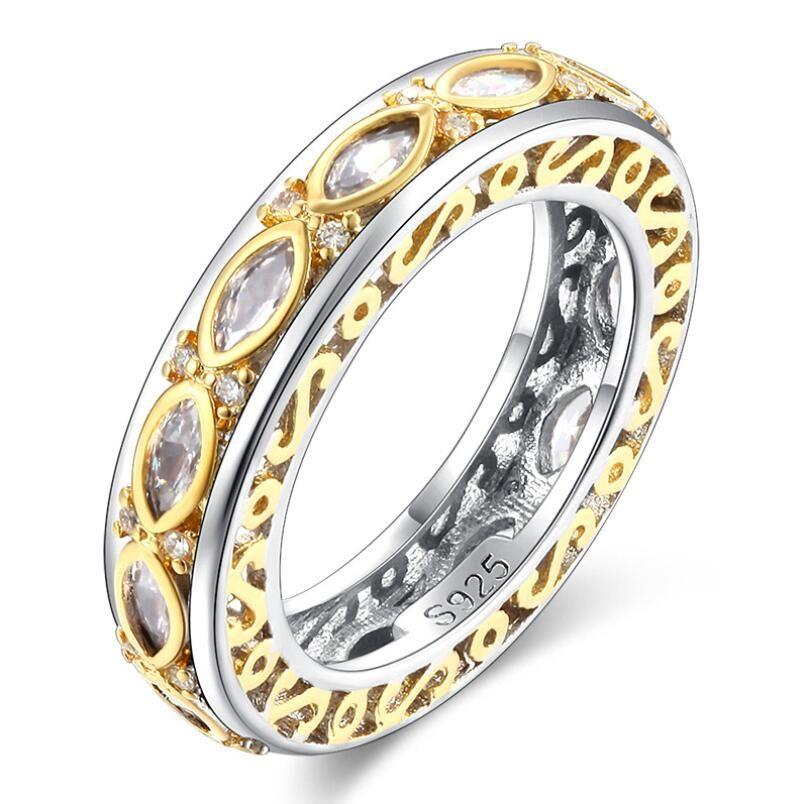 Size5-10Handmade Vintage Jewelry 925 sterling silver Horse Eye stripe bianco topazio di cristallo donne Wedding Engagment Band Ring il regalo degli amanti
