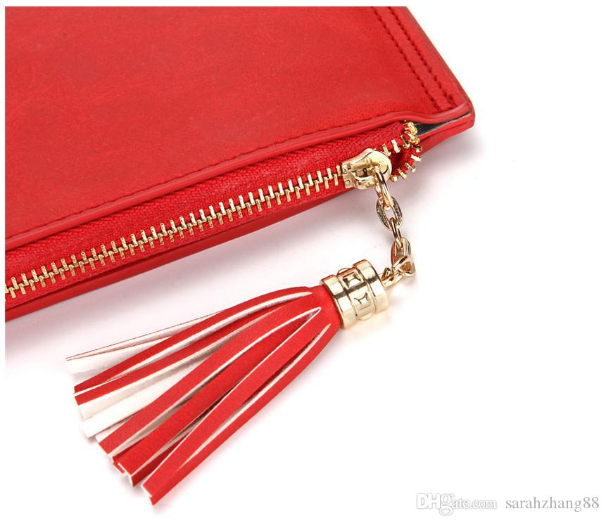 Women's Bifold PU Leather Multi Card Holder Wallet With Cosmetic Mirror and Tassel Zipper Pocket Phone Clutch Wallet Perfect for Gift
