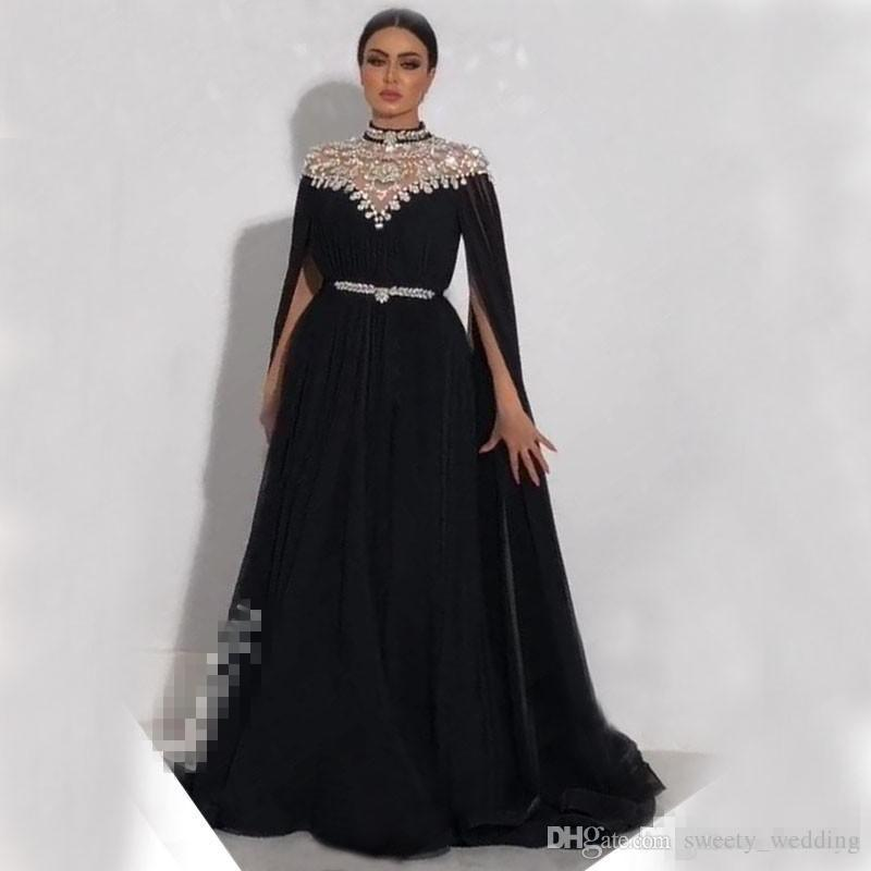 7eca3731ae4 Plus Size Crystals Kaftan 2018 Prom Dresses Caped Long Sleeves Yousef  Aljasmi High Neck Black Long Chiffon Arabic Formal Evening Gowns Cheap Prom  Dresses ...