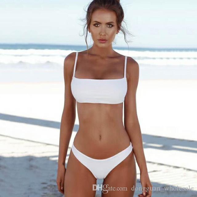 46da9d75282 2018 Bikini Set Solid Swimwear Women Brazilian Bikinis Swimming Suit for  Women Beach Wear Swimsuit Female Bandeau Bathing Suits