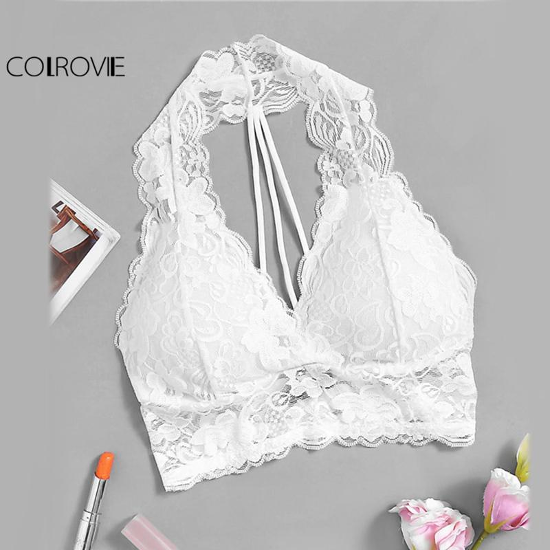 52ce0c9ac 2019 COLROVIE Halter Lace Bralette Sexy Vintage Women White Strappy  Racerback Crop Top 2017 Summer Elegant Slim Cut Stretchy Lingerie From  Cadly